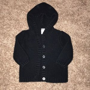 Carter's black cardigan with cat ears